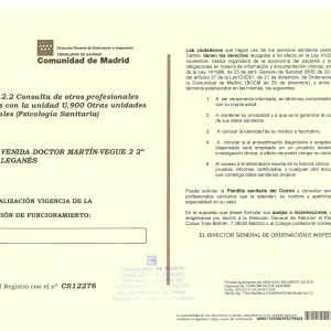 Certificado centro sanitario